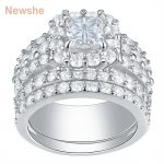 Newshe 2.2 Carats Cross Cut Zirconia Solid 925 Sterling <b>Silver</b> Halo Wedding Rings Set Stunning <b>Jewelry</b> For Women Free Shipping