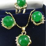 Women's Wedding fast shipping> 10mm Green stone Earrings Ring & Necklace Set silver mujer moda