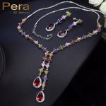 Pera Big Water Dropping Multi Colorful Cubic Zirconia Stone Pave Setting Long Dangle <b>Necklace</b> And Earrings Sets For Ladies J024
