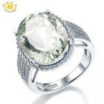 Hutang Stone <b>Jewelry</b> 8.5CT Natural Gemstone Green Amethyst Solid 925 <b>Sterling</b> <b>Silver</b> Engagement Ring Fine Fashion <b>Jewelry</b> Gift