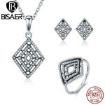 BISAER 100% 925 Sterling <b>Silver</b> Jewelry Sets Geometric Lines Clear CZ 925 <b>Silver</b> Jewelry Set Authentic <b>Silver</b> Jewelry GUS050