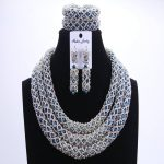 <b>Silver</b> Blue Dudo African Beads Jewelry Sets 2017 Bridal Jewelry Sets & More Nigerian Wedding Beads African Necklace For Women