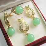 Women's Wedding 1Set AAA 12mm Green stone Necklace Earrings Ring Set real silver-<b>jewelry</b>