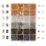2460PCS/Box 24 Style 6 Color <b>Jewelry</b> Findings Kit Open Jump Rings Lobster Clasps Cord Ends Ribbon Ends for <b>Jewelry</b> <b>Making</b>