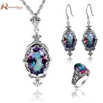 Dubai Jewelry Sets <b>Earrings</b> & Ring Fire Mystic Rainbow Vintage Crystal <b>Earrings</b> Solid 925 <b>Silver</b> Bridal Wedding Schmuck Sets