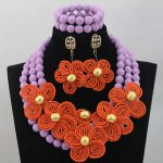 Fashion Lilac and Coral Wedding African Beads Jewelry Set Coral Flowers Traditional Indian Bridal Jewelry Free Shipping CNR638