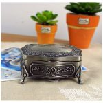 <b>Antique</b> Carved Elegant Crate Drops Princess <b>Jewelry</b> Box Retro Metal Decor Storage Collection Boxes European-style Bronze Case