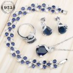 Sliver 925 Costume <b>Jewelry</b> Sets For Women Bracelets/Necklace/Pendant/Stud Earrings/Rings Wedding Set With Blue Stones Free Box