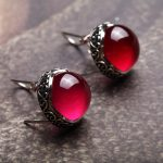 925 Sterling <b>Silver</b> retro red corundum ear clip round <b>EARRINGS</b>