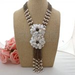 """N070501 18"""" 4 Strands White Coin Pearl Flower Crystal Statement Necklace"""