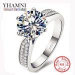 Lose Money Promotion 100% 925 Sterling Silver Rings <b>Jewelry</b> Luxury 8mm 2 Carat CZ Diamant Zircon <b>Wedding</b> Rings For Women YH012