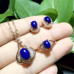 KJJEAXCMY boutique jewels 925 sterling <b>silver</b> inlaid with natural oval blue diamond ring pendant <b>earrings</b> 3 pieces of gold and s