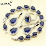 925 Silver Water Drop Wedding <b>Jewelry</b> Set For Women Blue Cubic Zirconia White Stones Bracelet Earrings Necklace Pendant Rings