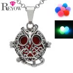 Noctilucence Glow Beads <b>Antique</b> Silver Aromatherapy <b>Jewelry</b> Hollow Floral Owl Locket Pendant Necklace Essential Oil Diffuser DIY