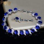 Pera European Design Natural Blue Cubic Zircon Crystal White Stone 925 Sterling Silver <b>Jewelry</b> Big Charm Bracelet For women B079
