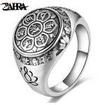 ZABRA Vintage Genuine 925 Sterling Silver Rings For Women Female Six Words Budda Mantra Biker Mens Signet Rings Male <b>Jewelry</b>