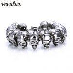Vecalon 316L Stainless Steel <b>Bracelet</b> 22cm Huge Heavy Solid <b>Silver</b> Men's Skeleton Skull <b>bracelet</b> Ghost bangle Biker Punk Jewerly