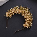 <b>Fashion</b> Handmade Beaded Crystal <b>Jewelry</b> Gold Color Tiara Imitation Pearl Crown Hair Hoop Wedding Accessories Bride Headwear