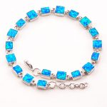 Blue Fire Opal 925 Sterling <b>Silver</b> <b>Bracelet</b> P88 8″ Free Ship High quantity Factory price Beautiful Jewelry For Men and Women
