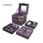 FUNIQUE <b>Fashion</b> Flannel <b>Jewelry</b> Box Princess Flannel Three Layer Creative Storage Gift Box Trinkets Storage Boxes
