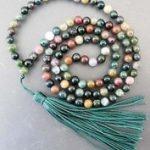 Tibetan <b>handmade</b> <b>jewelry</b> Tibetan Buddhist 108 stone Prayer Beads Mala Necklace 8mm silver