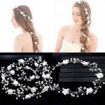 1.1 Meter <b>Wedding</b> Headband Flower Pearl White Bridal Fashion <b>Jewelry</b> Womens Accessories Hair <b>Jewelry</b> for Braids Hair Ornaments