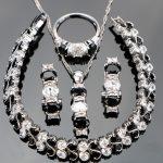 Costume Silver 925 <b>Jewelry</b> Sets Women Black Zircon Jewellery With Stones Earrings Bracelets Pendant Necklace Rings Set Gift Box