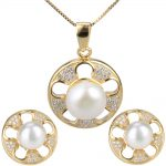 Latest women 925 sterling <b>silver</b> yellow gold plated necklace <b>earrings</b> pearl set