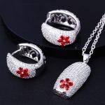 Elegant <b>Jewelry</b> Pendant and Earrings set Best Gift for Lover Red Blue Green Black CZ crystal Women Daily wear Fancy <b>Jewelry</b> set