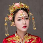 Vintage Chinese Traditional Bridal Headdress Tassels Chain Hairpin Gold Color Women Vintage Headwear <b>Wedding</b> <b>Jewelry</b> Hair Combs