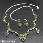Trendy Hermosa Natural Green Peridot Jewelry Sets 925 Sterling <b>Silver</b> <b>Necklace</b> & Earrings NY1026 Free Shipping