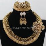 <b>Handmade</b> Braid Bridal <b>Jewelry</b> Sets Gold Brown Crystal Nigerian Wedding African Beads <b>Jewelry</b> Necklace Set Free Shipping ABF906
