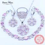 Pink Zircon Bridal <b>Silver</b> 925 Mark Jewelry Sets Women Pendant&Necklace Ring Earrings Natural Stones <b>Bracelets</b> Jewelery Gift Box