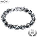 MetJakt Vintage Thai <b>Silver</b> Crusade Flower <b>Bracelet</b> Solid 925 Sterling <b>Silver</b> <b>Bracelet</b> & Men's Punk Rock <b>Bracelets</b> 21cm