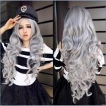 new <b>Fashion</b> Women Stone gray Long Curly Wavy Hair Full Cosplay Lolita Party Wig