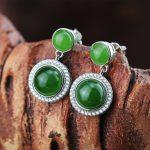 925 sterling <b>silver</b> jasper <b>earrings</b> green handmade fashion wild natural jasper stud <b>earrings</b> for women jade jewelry for charms
