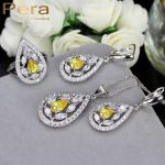 Pera CZ New <b>Fashion</b> White And Yellow Crystal Stone 925 Sterling Silver 3 Piece Big Water Drop <b>Jewelry</b> Sets For Women Party J194