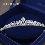 HIBRIDE AAA CZ Tiara King Crown <b>Wedding</b> Hair <b>Jewelry</b> Real White Gold Color Headpiece Bridal Accessories HC00018
