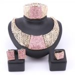 African <b>Jewelry</b> Set Gold Color Pink Austrian Crystal Rhinestone Women Wedding <b>Necklace</b> Bangle Earring Ring <b>Jewelry</b> Set