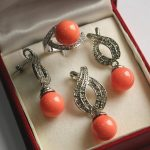 Women's Wedding Hot! noble new silver plated + 12mm salmon pink red pearl pendant, earring, , ring set real silver mujer