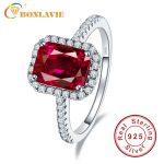 Luxury Geniune 925 <b>Sterling</b> <b>Silver</b> 3.6ct Square Cut Blood Ruby Wedding Engagement Rings Super Shiny Fine <b>Jewelry</b> For Bridal