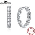 GAGAFEEL Unique Design 925 Silver Round Hoop Earrings For Women Top High AAA+ Tiny CZ Pave Sterling Silver Grils Earring <b>Jewelry</b>