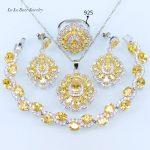 L&B Handmade Square Sparkling Yellow <b>Bracelet</b> 4Pcs Wedding Jewelry Set For Women Earrings Ring Pendant Necklace