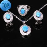 Beautiful Blue Fire Opal Attended By Crowd Fashion 925 Sterling <b>Silver</b> Jewelry Sets Earrings Pendant Ring Size 6 7 8 9 S8630