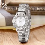 Shengke Luxury Crystal Women <b>Bracelet</b> Watches Shell Dial Ladies Quartz Watch Reloj Mujer 2018 SK Women <b>Silver</b> Wrist Watch