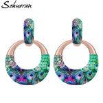 Sehuoran Big Pendient Drop Earrings For Women Print <b>Image</b> Boho Aretes Round Pendients Big Earrings Oorbeleln Fashion <b>Jewelry</b>