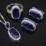 2017 New Women's Blue Stone Zirconia 925 Sterling Silver <b>Jewelry</b> Sets Earrings Pendant Necklace Rings Free Shipping QZ0167