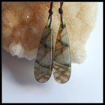 <b>Fashion</b> Style <b>Jewelry</b> Natural Stone Flashy Labradorite Teardrop Long Earring Bead 44x13x5mm 9g Drop Women Earrings