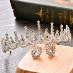 Bridal Crystal Crown Beaded Headband Tiara <b>Wedding</b> Hair Accessories Head <b>Jewelry</b> Rhinestone Set Princess King Queen Crown Women