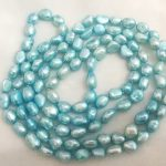 "Women <b>Jewelry</b> 120cm 47"" necklace 10mm Light blue pearl baroque pearl <b>handmade</b> Real cultured freshwater pearl gift"